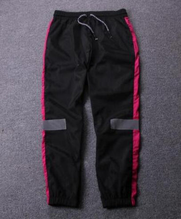 Reflective stripes splice vintage jogger pants
