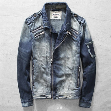 Turn-down Collar Vintage Irregular Zipper Cotton Jeans Denim Jacket