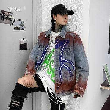 Harajuku Lightning Pattern Denim Jacket