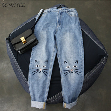Harajuku Kawaii Cat Embroidery Korean Style jeans