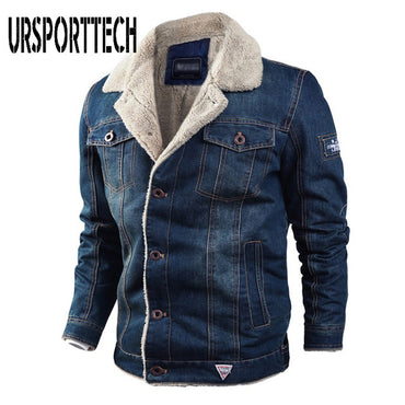 Military  Thick Warm Bomber Denim Jackets