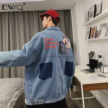 Lapel Portrait Cartoon Print Contrast Color Denim Jacket