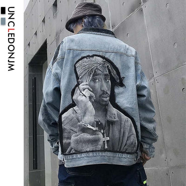 Hip hip printed Retro Denim Jackets