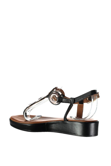 Pearl Genuine Leather Black Sandals