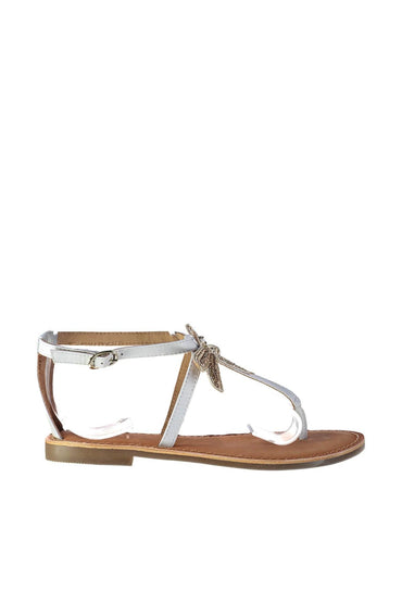 Pearl Genuine Leather White Sandals
