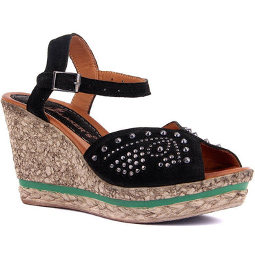 Sail-Lakers Black Nubuck Wedges Sandals