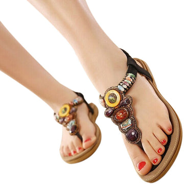 Gemstone Beaded Slippers Beach Sandals