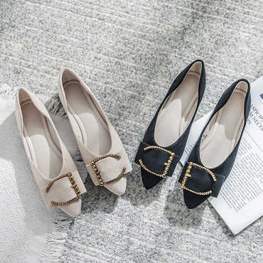 Pointed Toe Shallow Low Heel Flats Shoes