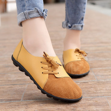 round toe cross tied loafers Patchwork Gary Boat Flats Shoes