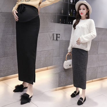 Adjustable Drawstring Waist Maternity Long Knitting Skirt