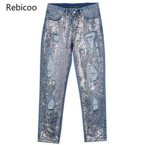 Ripped Denim Sequined Tassel Jeans