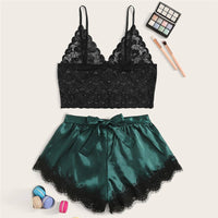 Lace Black Sling Bra Underwear Shorts Silky Sleepwear