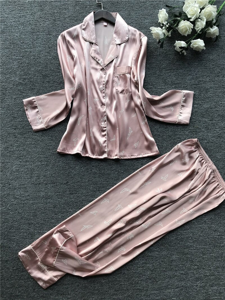 Sets with Pants Print Long Sleeve Silk Sleepwear