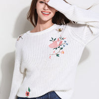 European O-neck Long Sleeve Pullovers Knitted Sweater