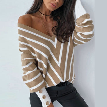 Striped V Neck Shirt Button Puff Sleeve Blouse