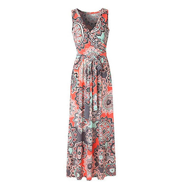 Sleeveless flower printed Maxi Dress