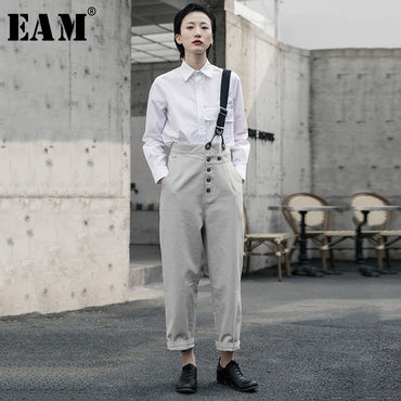 High Waist Gray Button Split Joint Leisure pants
