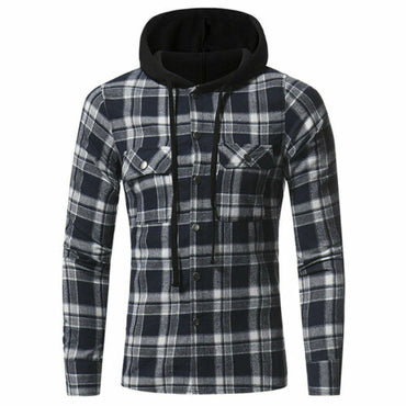 Brawny Buffalo Plaid Flannel Shirt Long Sleeves Button Front Check Hoodies