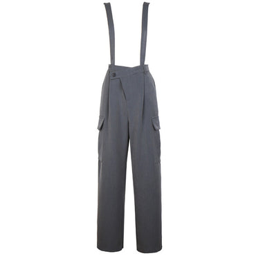 High Waist Gray Pocket Split Long Wide Leg pants
