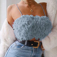 Blue Fuzzy Sexy Crop Tops