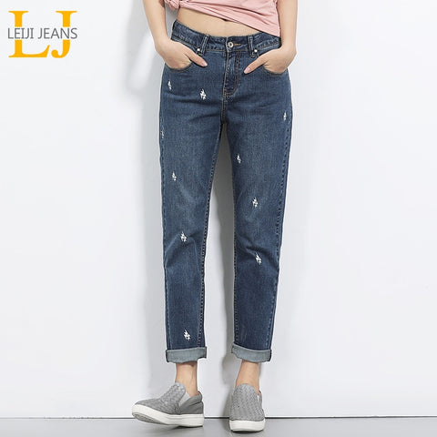 Lightening Printed Mid Waist Full Length Jeans