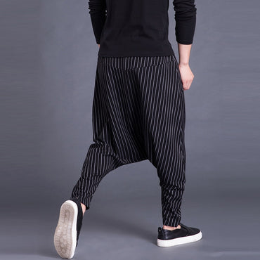 Cross-pants Drop Crotch Striped Pockets Sweatpants Baggy Pants