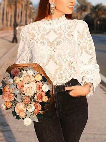 Lace White Tops Hallow Out Blouse