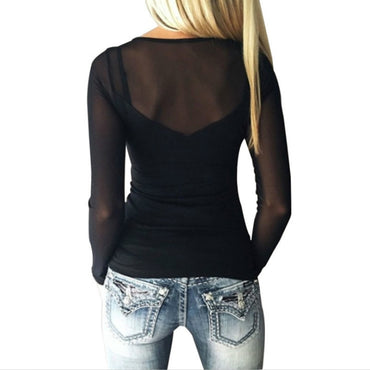 long sleeve shirts lace top Chiffon  Blouse