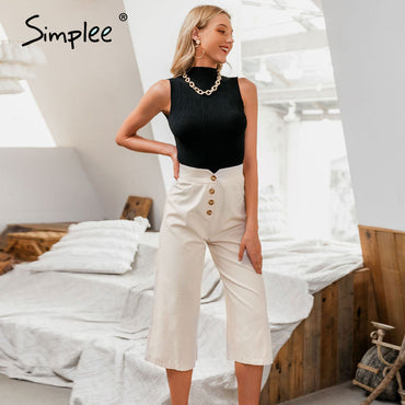 solid trousers Wide leg work wear office lady ruffles vintage pants