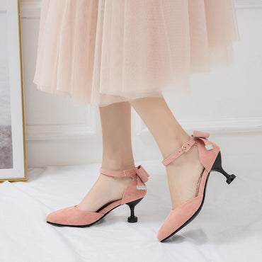 Butterfly Knot Shoes Point Toe Vintage Suede Leather Slip On Heels