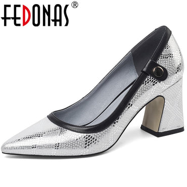 Snake Pattern Cow Leather Slip On High Heels