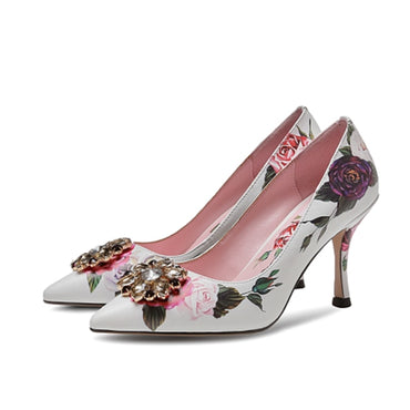Embroidered Pumps Supper High Heels