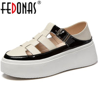Genuine Leather Platforms Flats Metal Buckle Round Toe Flat shoes