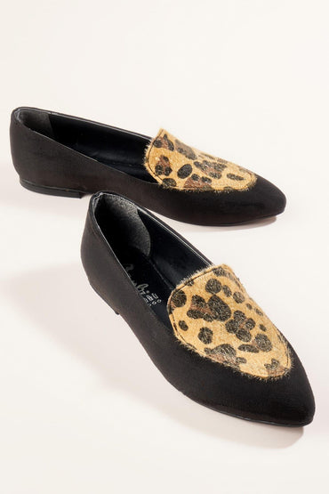 Bambi Black Leopard Loafer Flat shoes
