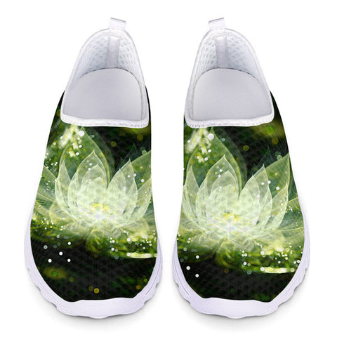 3D Flower Printing Ladies Air Mesh Comfortable Loafers Flat shoes