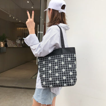 Plaid Tote Bag Casual Large Capacity Handbag