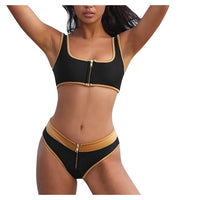 Push Up Swimwear Padded Zipper Bandage bikini