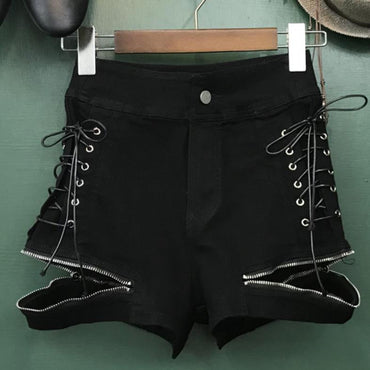 high waist loose lace-up wide leg jeans denim shorts