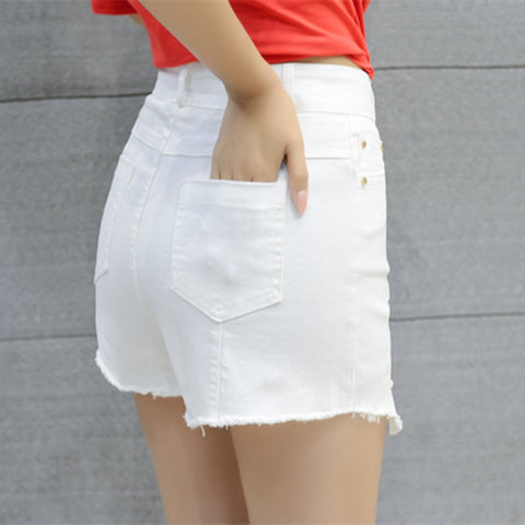 High Waist Casual Straight High Street denim shorts