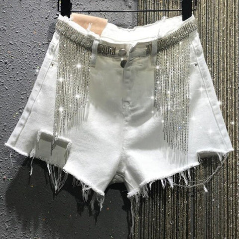 tassel rhinestone denim shorts