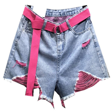 Color hole denim shorts