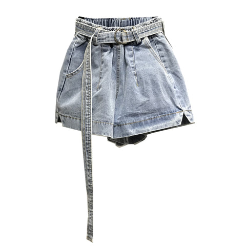 belt black gray elastic high waist loose wide leg jeans denim shorts