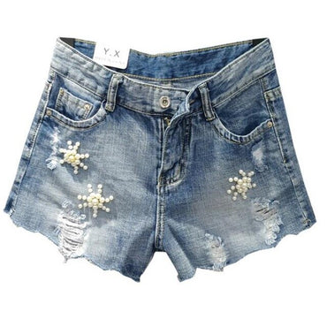 diamond lace stitching high waist loose denim shorts