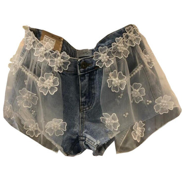flower mesh stitching beaded wide leg jeans denim shorts