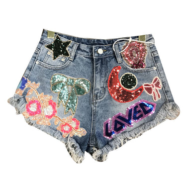 Moon Stars Sequins Embroidery Tassel Patch Raw Denim Shorts