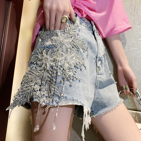 heavy work luxury beaded tassel sequins flowers jeans denim shorts