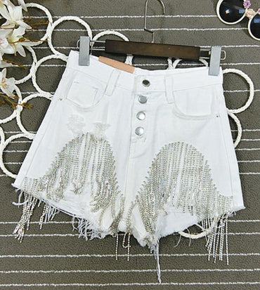 high waist heavy industry diamond tassel jeans denim shorts