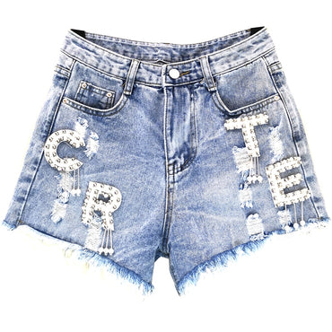 loose wide leg denim shorts