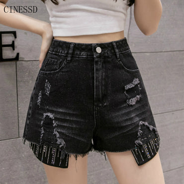 High Waist Black Jeans Mini denim shorts