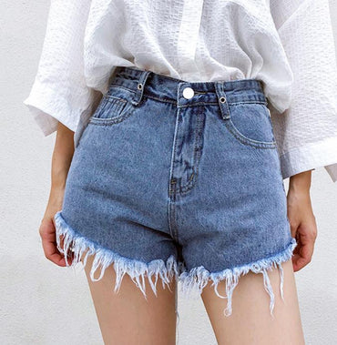 a-line high waist denim shorts